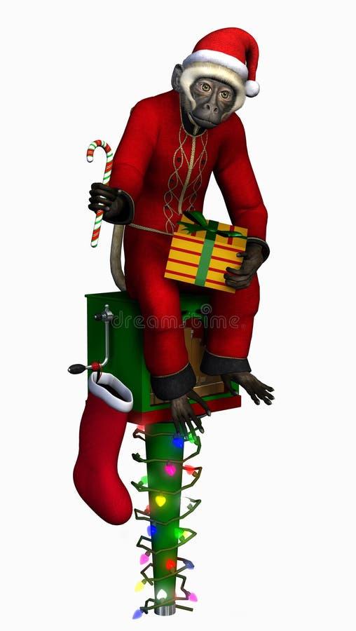 Singe de Noël - comprend le chemin de découpage illustration stock