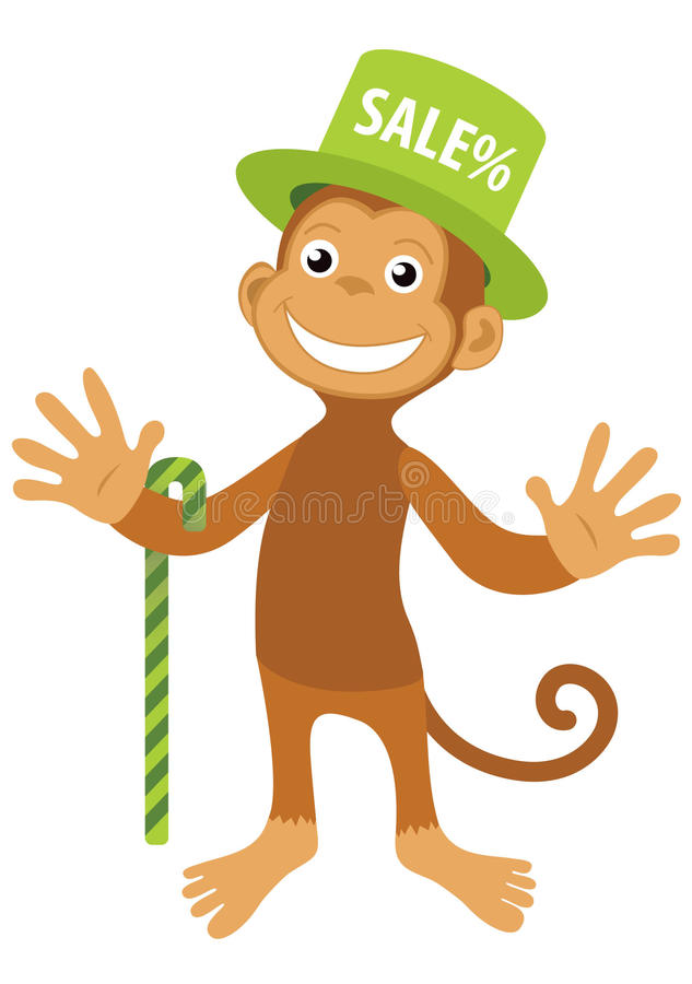 Singe de sourire de vecteur dans le chapeau vert de vente illustration libre de droits