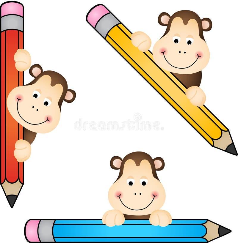 Singe drôle avec le crayon illustration libre de droits