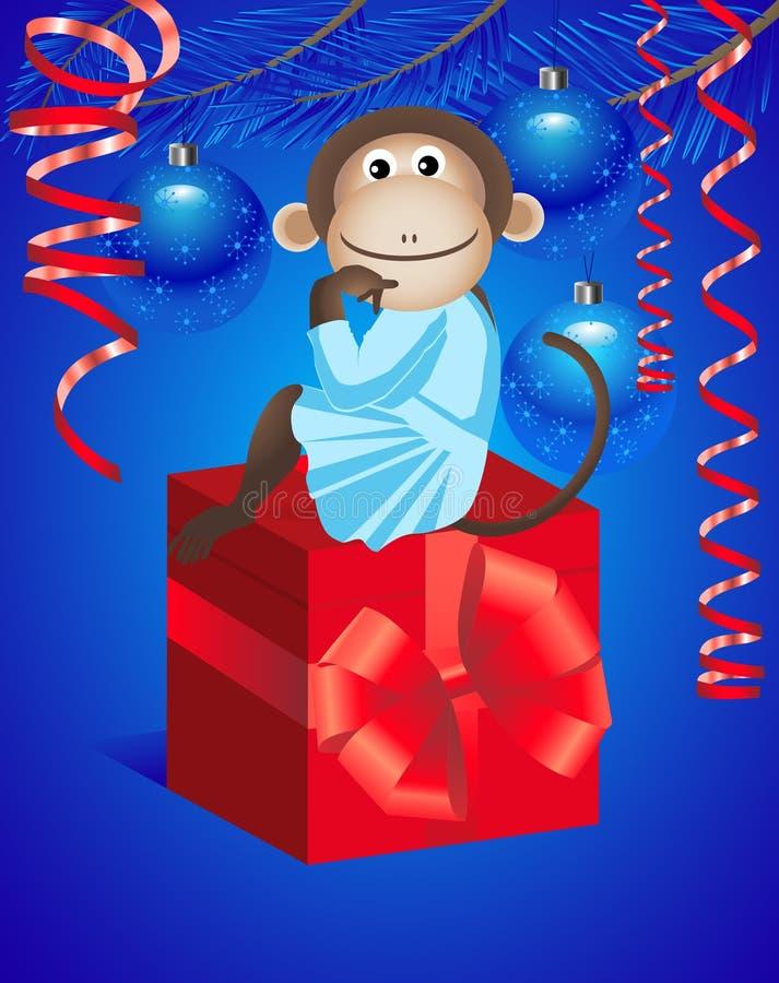 Singe et cadeau illustration stock