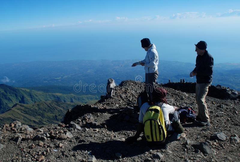 Singe et grimpeurs à la crête de Rinjani de bâti photographie stock