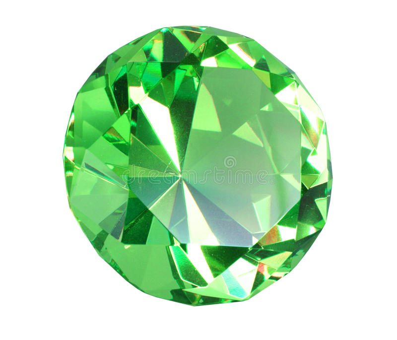 Singe green crystal diamond. Close-up. Isolated on white background.. Studio photography royalty free stock photo