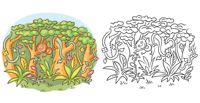 Singe heureux de bande dessinée dans la jungle, dessin de bande dessinée, coloré et noir et blanc illustration stock