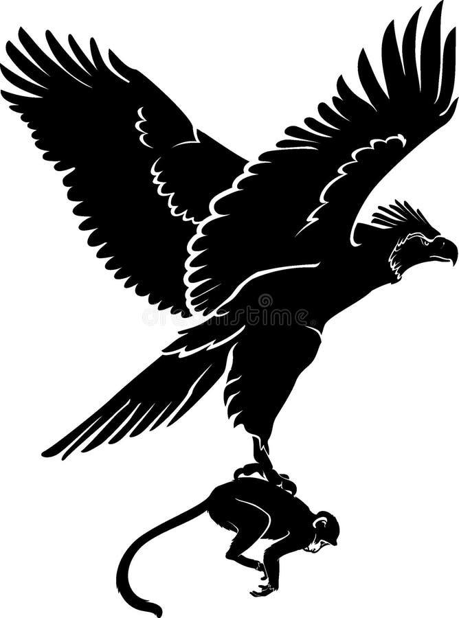 Singe mangeant l'aigle illustration stock