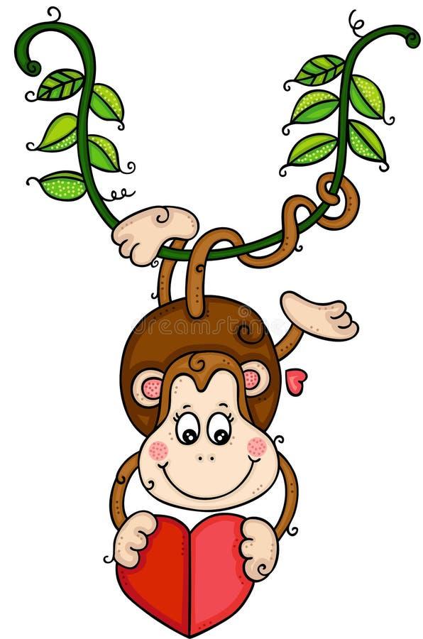 Singe mignon accrochant sur la branche tenant le coeur illustration de vecteur