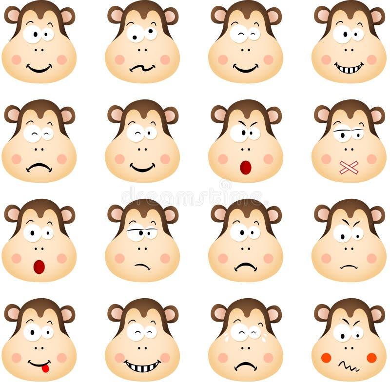 Singe mignon avec différentes expressions illustration de vecteur