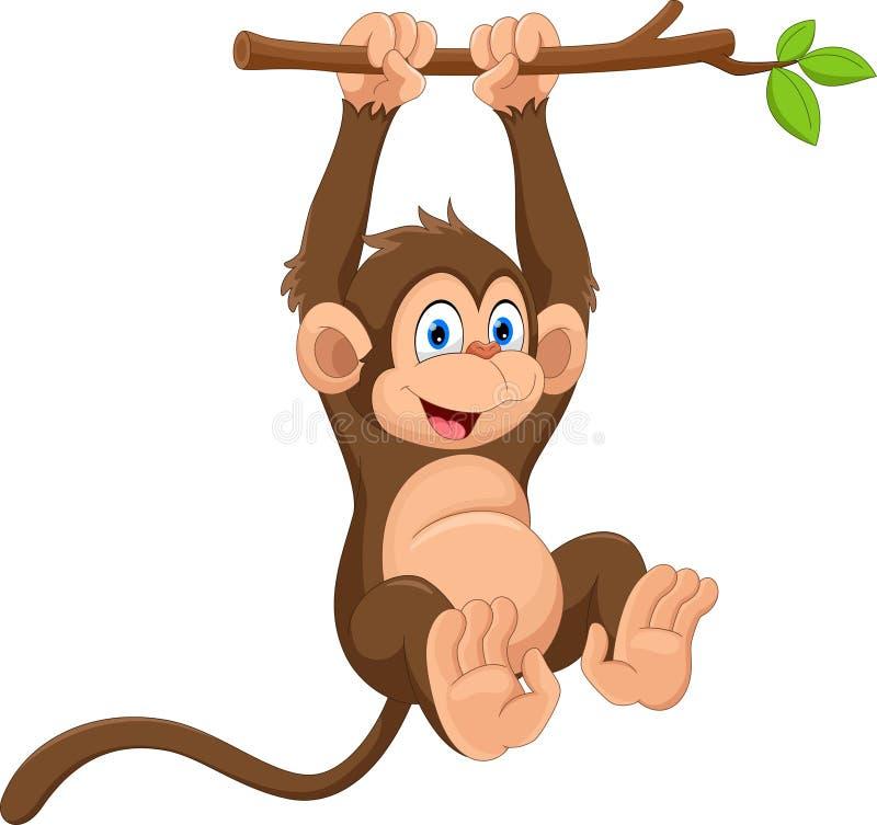 Singe mignon de bande dessinée accrochant sur la branche d'arbre Drôle et adorable illustration libre de droits