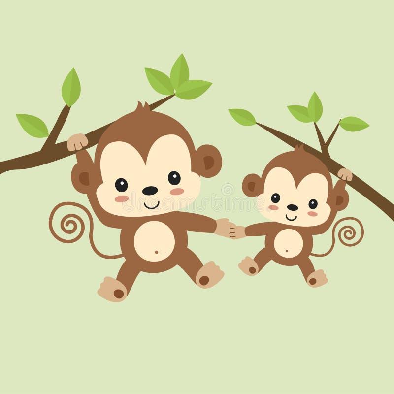 Singe mignon de maman et de bébé accrochant sur l'arbre illustration stock