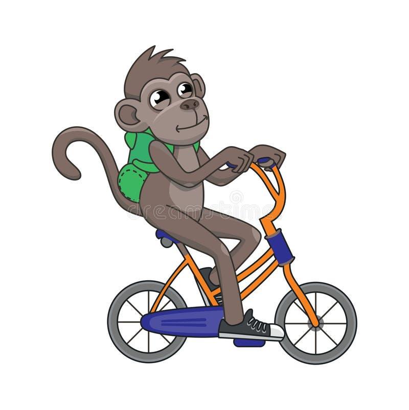 Singe mignon de vecteur montant une bicyclette illustration libre de droits