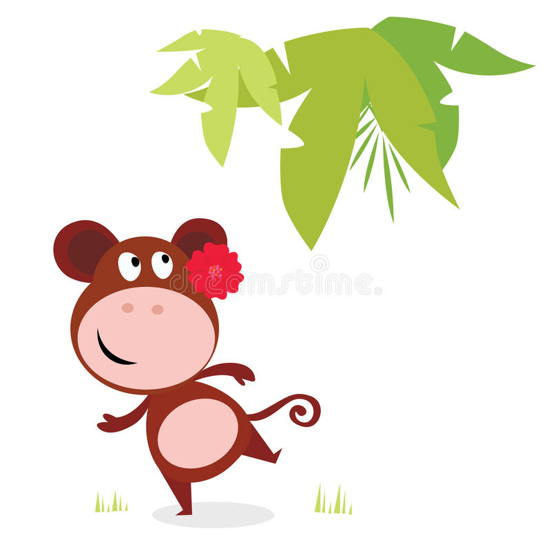 Singe mignon exotique de danse avec la fleur rouge illustration libre de droits