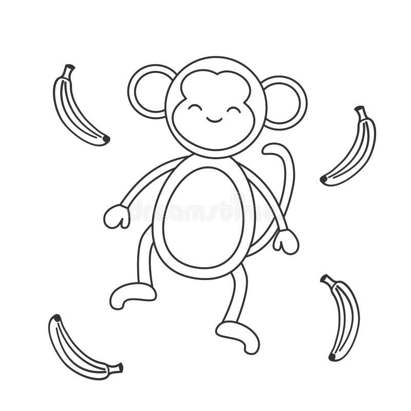 Singe noir et blanc de bande dessinée mignonne avec l'illustration de vecteur de banane pour l'art de coloration illustration de vecteur