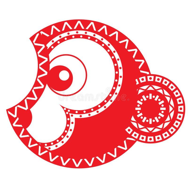 Singe rouge ardent An neuf chinois astrologie illustration libre de droits