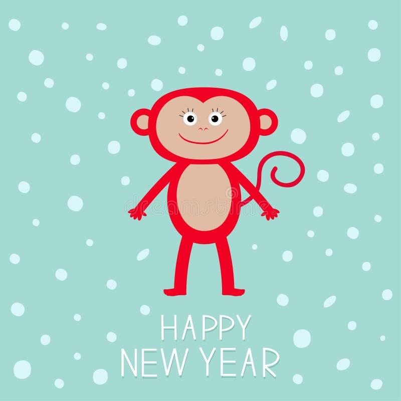 Singe rouge mignon sur le fond de neige Bonne année 2016 Illustration de bébé Conception plate de carte de voeux illustration stock