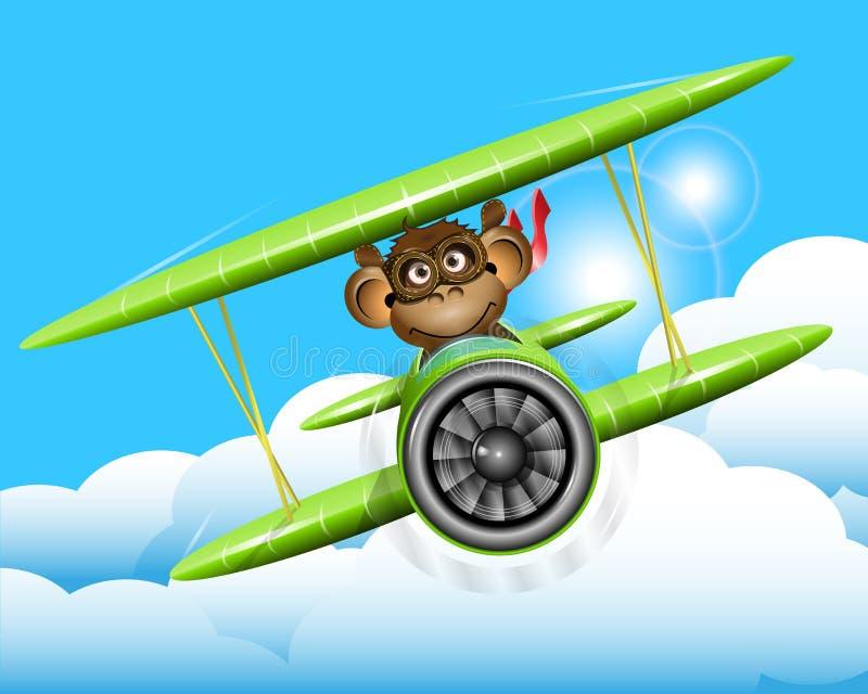 Singe sur un avion illustration de vecteur