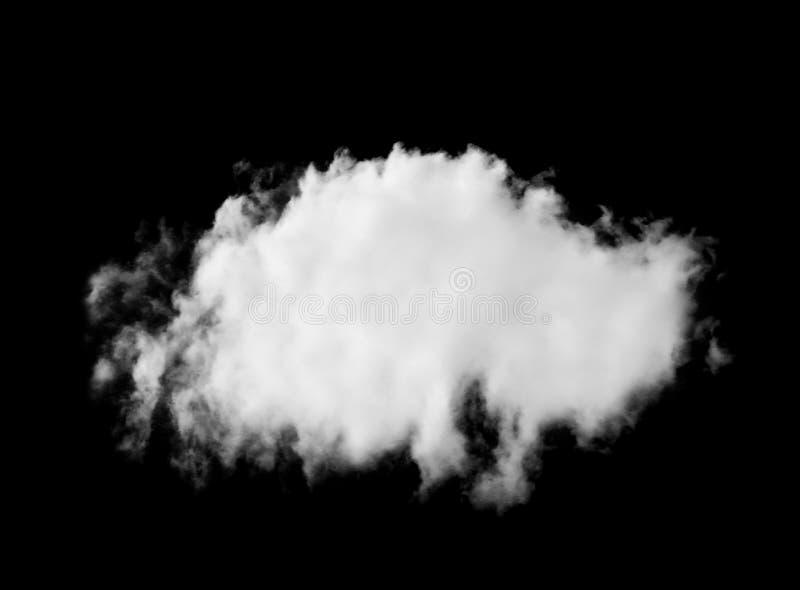 Singel av det vita molnet som isoleras på svart royaltyfria bilder