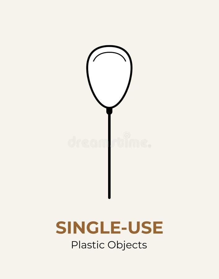 Singel-bruk plast- pinne i baloon Vektorillustration av återanvändning av det plast- objektet Plan logo Baloon för plast- pinne f stock illustrationer