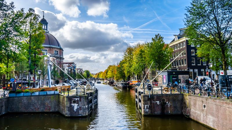 The Singelgracht canal in Amsterdam in Holland royalty free stock images