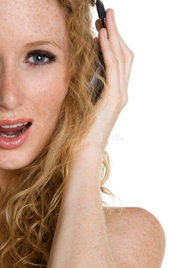 Singenkopfhörer-Frau lizenzfreies stockfoto
