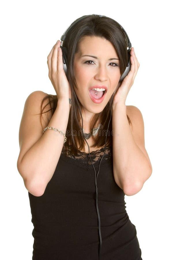 Singenkopfhörer-Mädchen lizenzfreie stockfotos