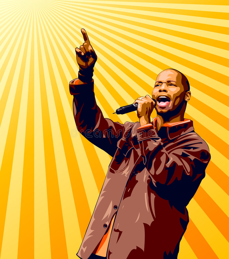 Singer. With microphone pointing high over a sunburst background