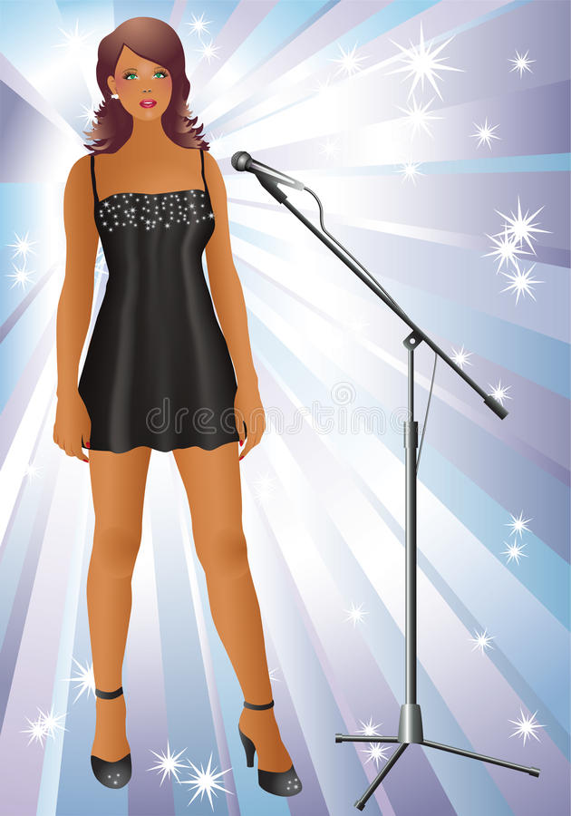 Singer. Beautiful girl in a black dress and a microphone on the background of stars and rays stock illustration