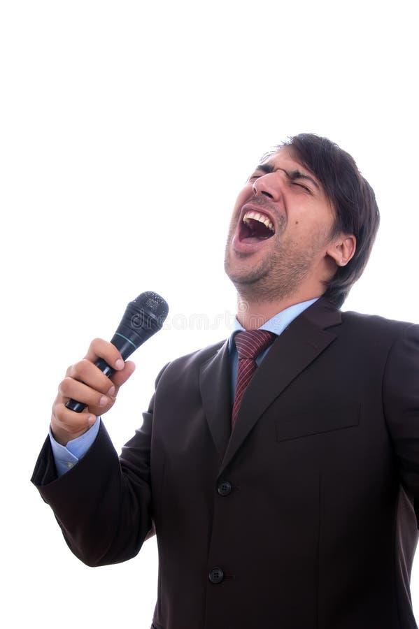 Singer. Singing on white background stock image