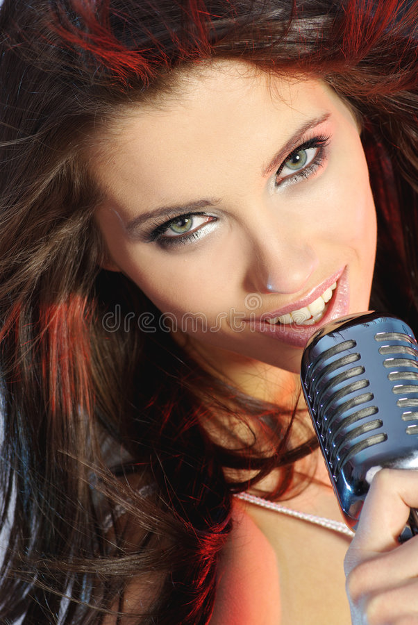 Download Singer stock photo. Image of chic, hair, mike, lips, club - 7625220