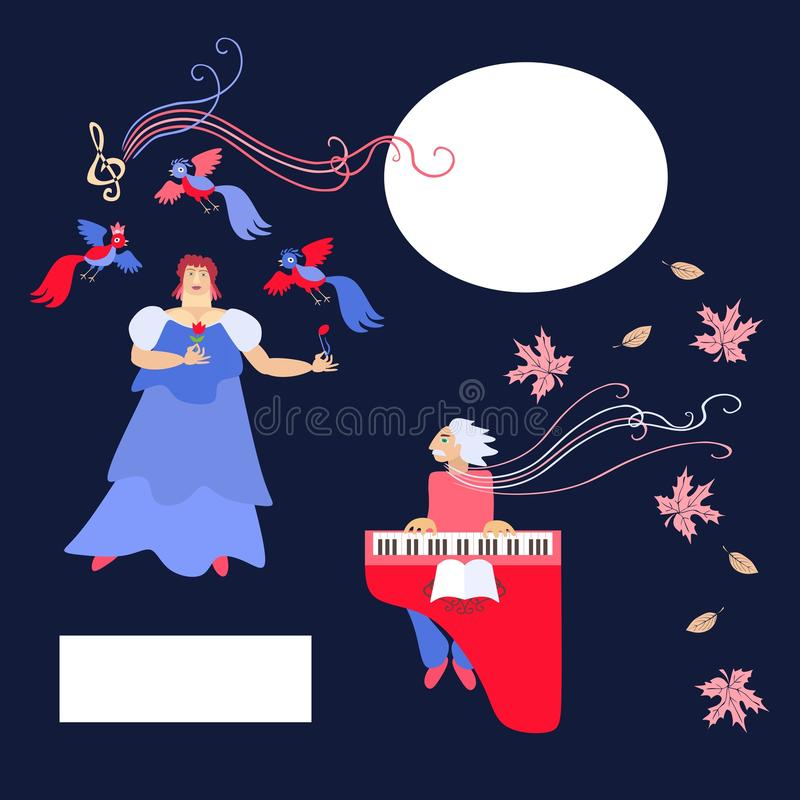 The singer and accompanist. Space for text. Cute cartoon vector vector illustration