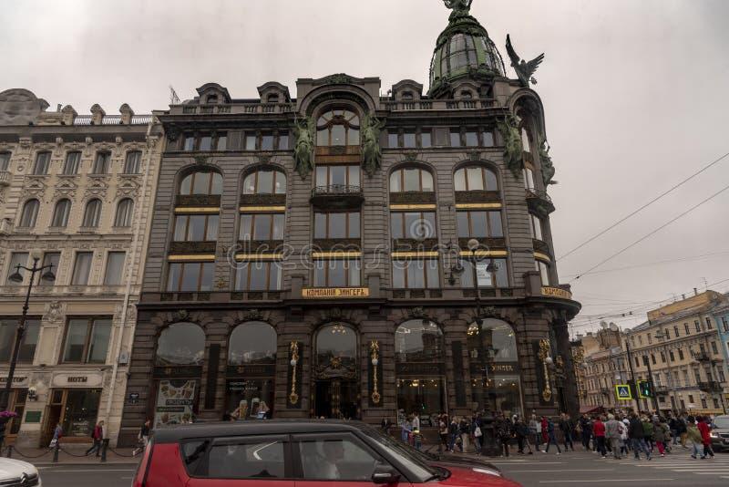 Singer Building on Nevsky Avenue Prospect in Sint-Petersburg Rusland royalty-vrije stock afbeelding