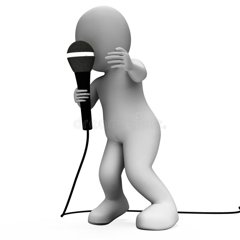 Singer Character With Mic Shows Singing Songs Or Talent Concert Royalty Free Stock Photography
