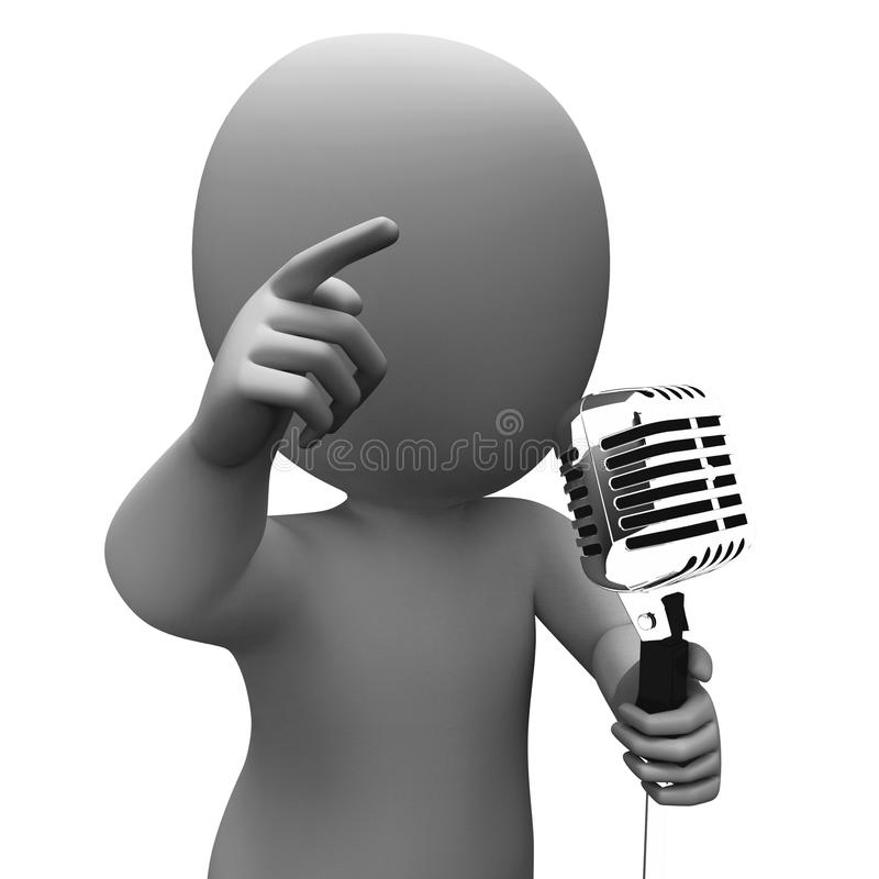 Download Singer Character Shows Music Or Speech Microphone Concert Stock Illustration - Image: 34210682
