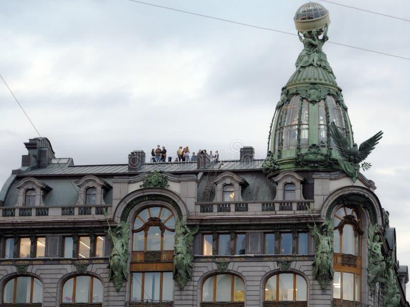 Singer Company公司建筑物屋顶在圣彼德堡,俄罗斯 库存图片