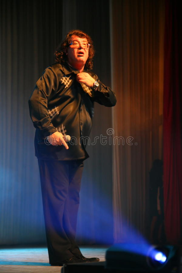 The singer and composer Igor Kornelyuk - the performance on the stage of Palace of culture and science named after I. I. Gaza stock photography