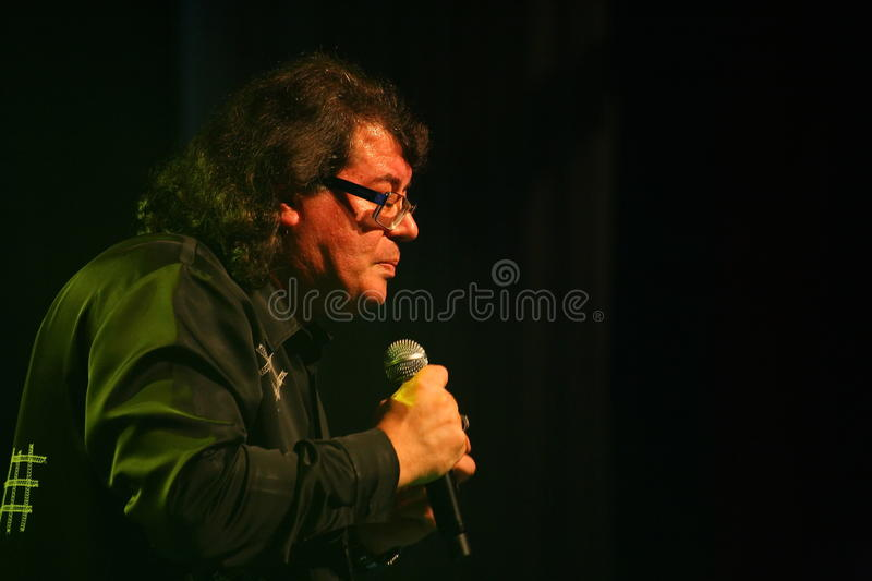 The singer and composer Igor Kornelyuk - the performance on the stage of Palace of culture and science named after I. I. Gaza stock image
