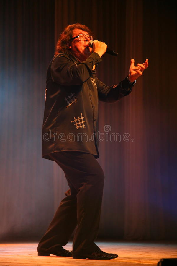 The singer and composer Igor Kornelyuk - the performance on the stage of Palace of culture and science named after I. I. Gaza stock photo