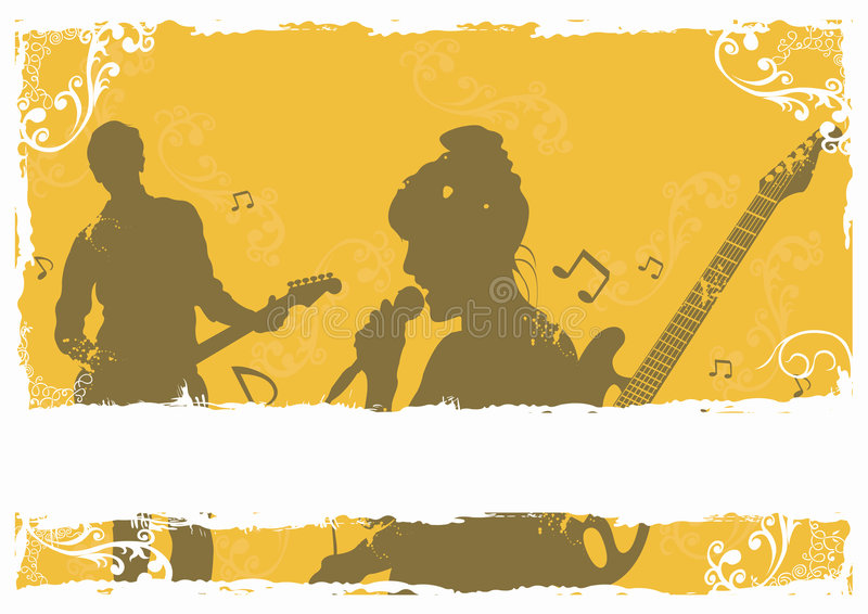 Singer and guitarist stock illustration