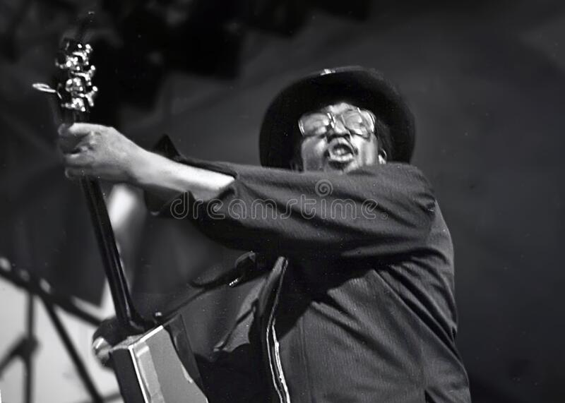 Bo Diddley at 1979 ChicagoFest. Singer, guitarist, songwriter, and music producer Bo Diddley cuts loose at a Rock and Roll Spectacular during ChicagoFest at the stock photography
