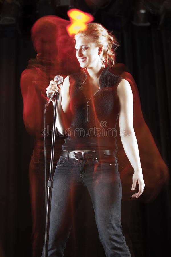 Download Singer and her ghost stock image. Image of modern, club - 24010939