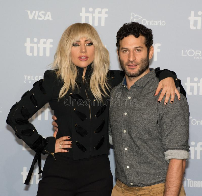Lady Gaga and Director Chris Moukarbel - `Lady Gaga: Five Foot Two` Press Conference. Singer Lady Gaga and director Chris Moukarbel at the premiere of stock image