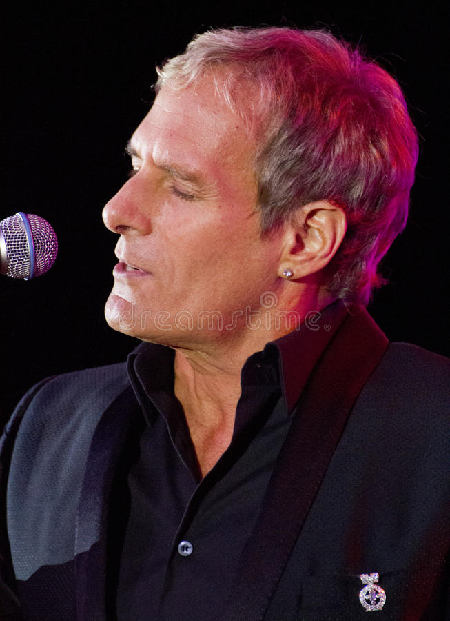 Singer Michael Bolton Sings. Grammy award winning singer, songwriter, and musician Michael Bolton entertains a crowd at the Childhelp charity Drive The Dream royalty free stock photography