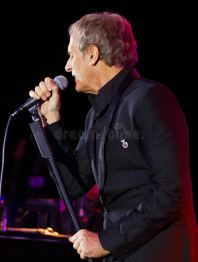 Singer Michael Bolton Sings. Grammy award winning singer, songwriter, and musician Michael Bolton entertains a crowd at the Childhelp charity Drive The Dream stock images