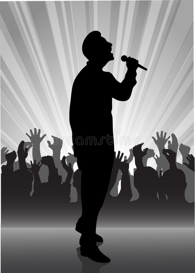 Singer at the microphone vector illustration
