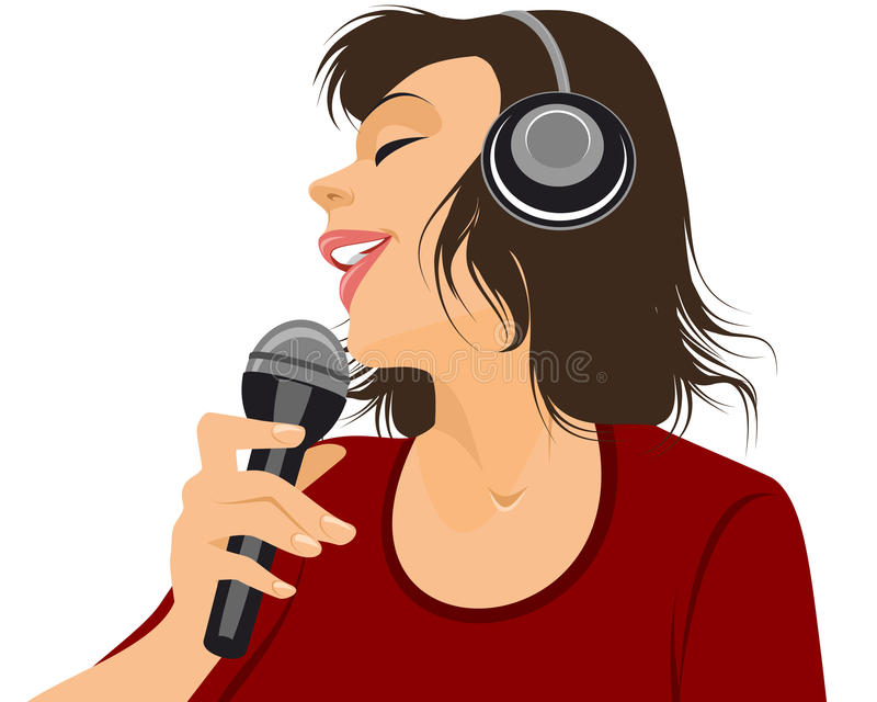 Singer with microphone. Vector illustration of a singer with microphone stock illustration