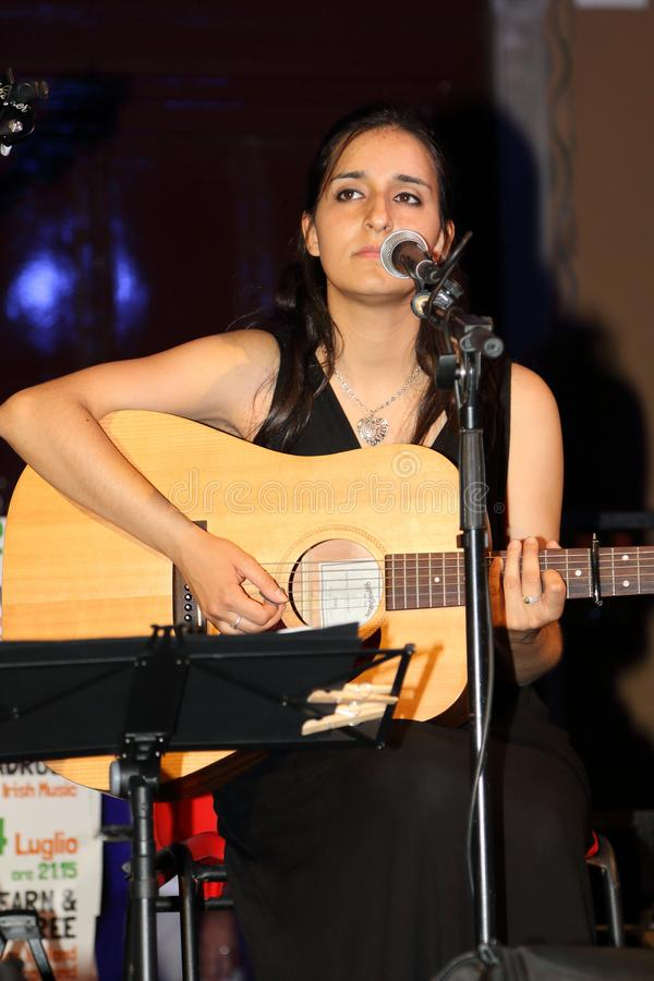 The singer of the musical complex Birkin Tree during a concert in Santa Margherita Ligure Genoa-Italy stock photos