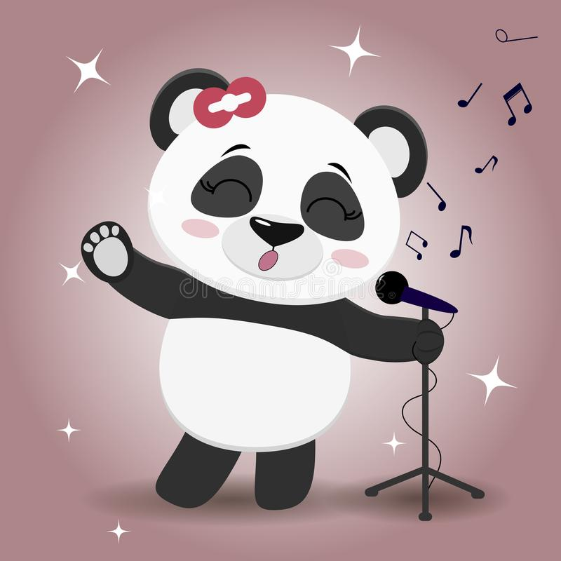 Free Singer Panda With A Red Bow, With A Raised Paw, Sings Into The Microphone On A Pink Background, In The Style Of Cartoons Stock Photo - 103726380