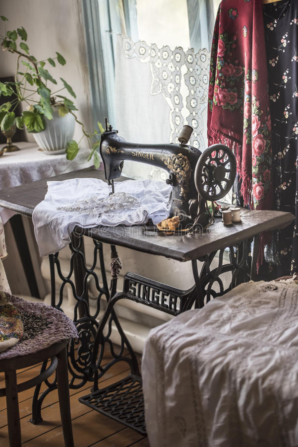 Singer sewing machine in the Cossack house royalty free stock photo