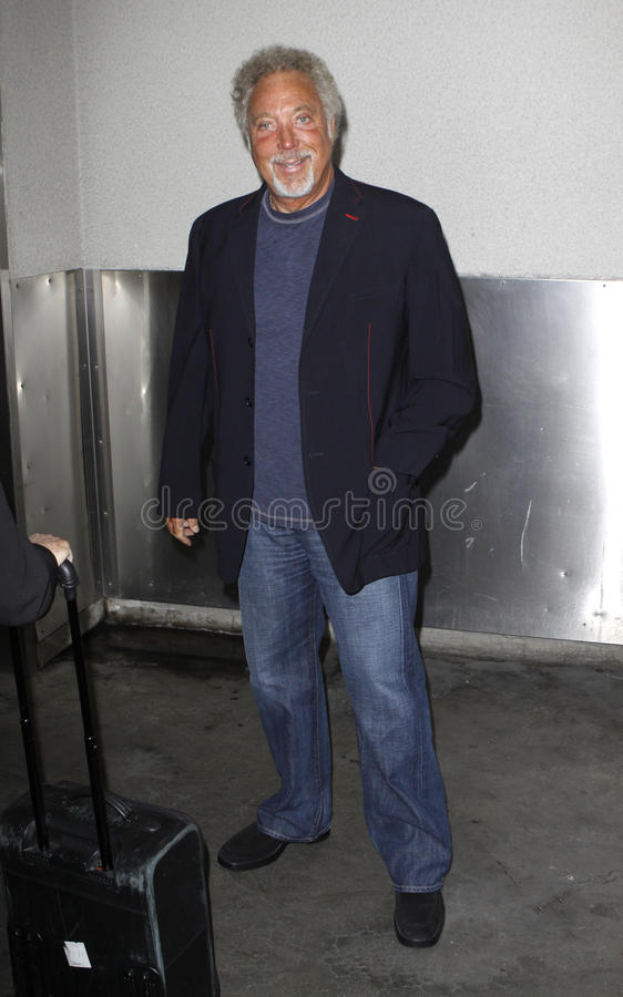 Singer Tom Jones is seen at LAX royalty free stock photo