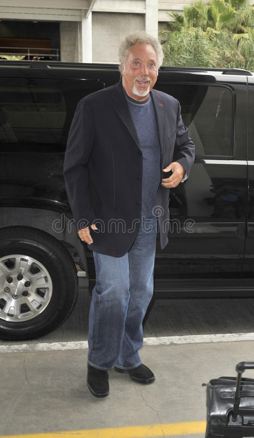 Singer Tom Jones is seen at LAX royalty free stock photography