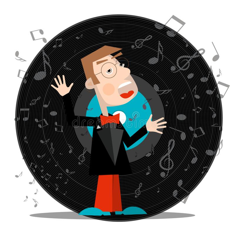 Download Singer with Vinyl Record. stock vector. Illustration of background - 117816393
