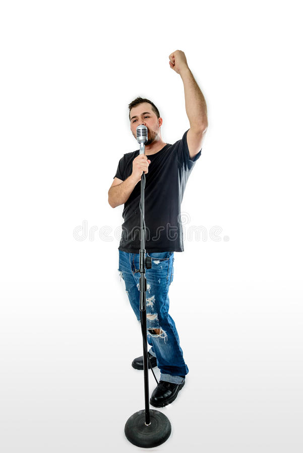 Singer Vocalist on White fist in the air royalty free stock photo